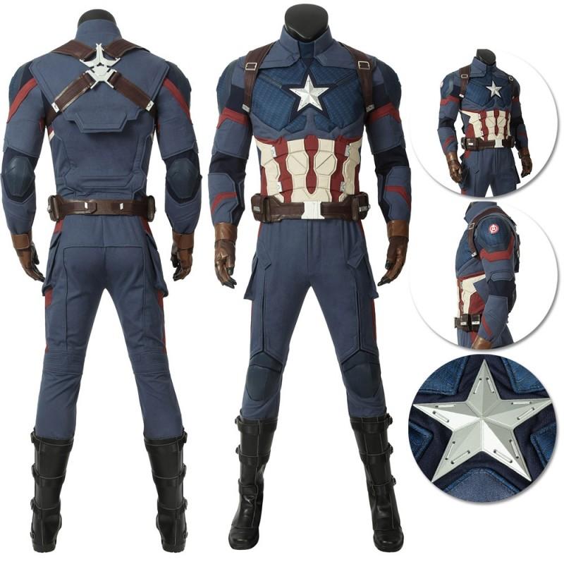 Avengers 4 Endgame Cosplay Costume Captain America Steven Rogers Uniform Suit